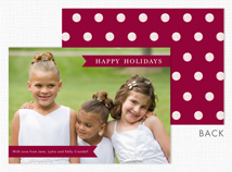 Burgundy Banners & Dots Holiday Photo Cards